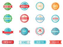 Set of colored emblems and stamps. Set of sixteen vector colored emblems and stamps in flat style depicting denied  approved  exclusive  original  certified Royalty Free Stock Photos