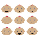 Set of colored emoticons, baby girl. Smile, surprise, sadness,. Laughter and happiness. Vector illustration Royalty Free Stock Photo