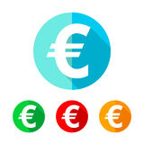 Set of colored euro icons. Vector illustration. Stock Image