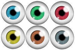 Set of colored eyes. Set of six human eyeballs of different colors. Isolated on white background Royalty Free Stock Photography