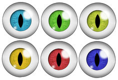 Set of colored eyes. Set of six beast or demonic eyeballs of different colors. Isolated on white background Stock Image