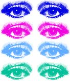 Set of colored eyes. A colored set of eyes in big raster points. Also available as Illustrator-file Royalty Free Stock Images