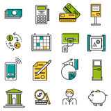 Set of colored finance icons. Vector set 22 colored financial icons on white isolated background. Accountant, money and coin, atm terminal and banking equipment Royalty Free Stock Photo