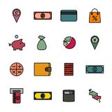 Financial icons, vector illustration. Set of colored financial icons of thin lines. Flat style, vector illustration Stock Photos