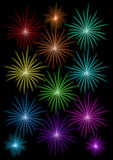 Set of colored fireworks. On black background vector illustration Royalty Free Stock Photography