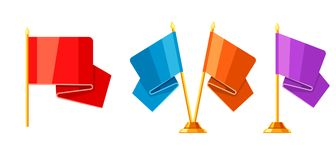 Set of colored flags on stand. Illustration of award for sports or corporate competitions Stock Photos