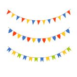 Set of colorful bunting flags. Set of three different shaped bunting flags on white background Royalty Free Stock Photos