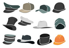 Set colored flat hats military and civilian Stock Image