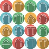 Set of colored flat icons for archway Stock Image