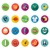 Set of colored flat icons of baseball. Set of  icons flat on white isolated background. The icons on the theme of sports, baseball and athletics in a minimalist Royalty Free Stock Images