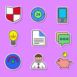 Set of colored flat icons for websites and applications. Royalty Free Stock Photos