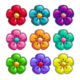 A set of colored flowers. A set of colored cartoon flowers Royalty Free Stock Photo