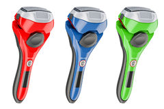 Set of colored foil-type cordless razors, 3D rendering Stock Photos