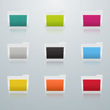 Set of Colored Folders in Perspective Stock Photos