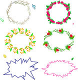 Set of colored frames with summer. Berries, leaves and branches Vector Illustration