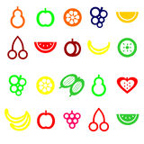 Set of colored fruit icons Stock Image