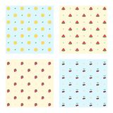Set of colored fruit patterns Stock Photo