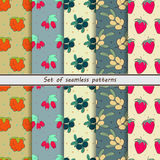 Set of colored fruit seamless patterns Royalty Free Stock Photography