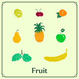 Set of colored fruits Stock Photos