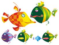 Set of colored funny fishes. Stock Image