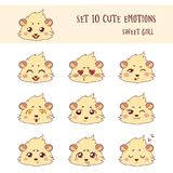 Set of 10 Colored Funny Girl Cavy Emoticons Stock Photography