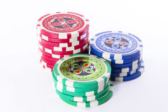 Set colored gambling chips. A set colored gambling chips Stock Images