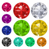 Set of colored gems. Set of gems in different colors. All gems are on different layers Stock Images