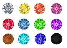 Set of colored gems on a white background. Diamonds with glass 3D Rendering on white royalty free illustration