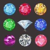 Set of colored gems. On dark background, vector illustration vector illustration