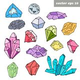 Set of colored gems. Hand drawn colored gems on white background. Vector isolated illustrations of precious stones. Element for fabric and textile print vector illustration