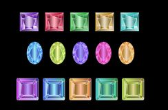 Set of colored gems isolated on white background. Set of colored gems isolated on black background, vector illustration royalty free illustration