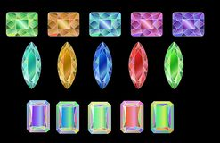 Set of colored gems isolated on white background. Set of colored gems isolated on black background, vector illustration stock illustration