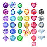 Set of colored gems. Isolated on white background, vector illustration stock illustration