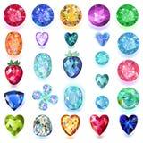 Set of colored gems. Isolated on white background, vector illustration stock illustration