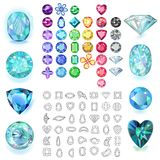 Set of colored gems. Isolated on white background, vector illustration royalty free illustration