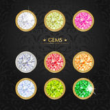 Set of colored gems. Jewel set. Silver rings on dark background. Vintage style. Greeting card. Hand drawing royalty free illustration