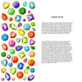 A set of colored gems with a place for your text. For printing, advertising, design. Vector. Set of colored gems isolated on white background, with place for royalty free illustration