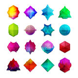 A set of colored gemstones in the geometric style Stock Photo