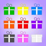 Set of Colored Gifts isolated on violet background. Holidays element. Vector Illustration for Your Design, Game, Card. stock illustration