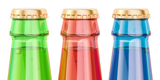 Set of colored glass bottles closeup, 3D rendering. Isolated on white background Royalty Free Stock Image