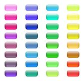 Set of colored glass buttons. Glossy icons for web. Vector design rectangle Stock Photography