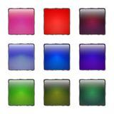 Set of colored glass buttons with metallic frame. 3d glossy icons for web. Vector design square Royalty Free Stock Image