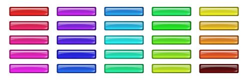 Set of colored glass buttons. Glossy icons for web. Vector design rectangle Royalty Free Stock Image