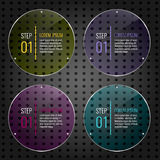 Set of colored glass panels. Set of multicolored glass banner panels on metal dotted background. Glossy transparent plates. Business infographic elements for stock illustration