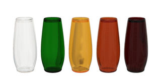 Set of 5 colored glasses  with clipping path. Set of blank transparent, green, brown, red and dark red glass isolated on white with clipping path Royalty Free Stock Photos