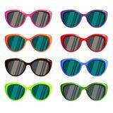 A set of colored glasses for the sun. Sunglasses set wayfarer shape multicolored  - vector illustration Royalty Free Stock Image