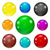 Set of colored glossy and shiny balls. Set of colored spheres on a white background. Coloured balls isolated. Vector illustration of coloured glossy and shiny royalty free illustration