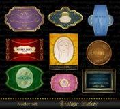 Set Colored Gold-framed Labels (2) Stock Image