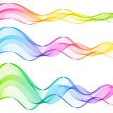 Set of Colored Gradient Abstract Isolated Transparent Wave Lines Stock Photography