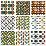 Set of colored grate seamless patterns with parallel lines, ribb. Ons and geometric figures, transparent symmetric bright wavy tiles, infinite geometric surface Stock Photo